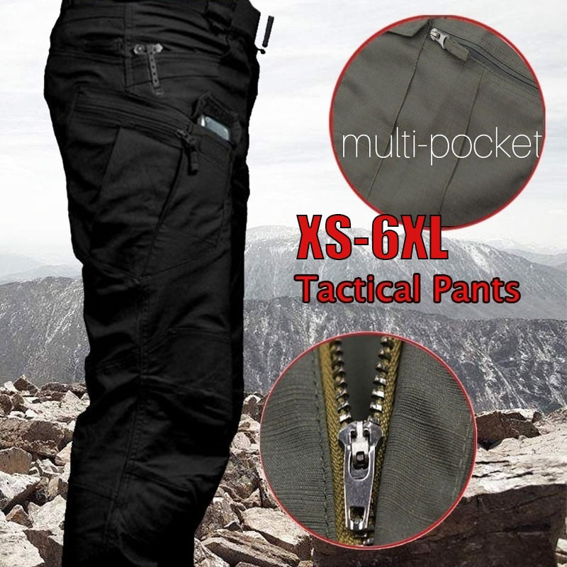 6XL Men Tactical Cargo Pants Outdoor Hiking Multiple Pocket Elasticity Casual Pants Military Urban Commuter Trousers Slim Fat