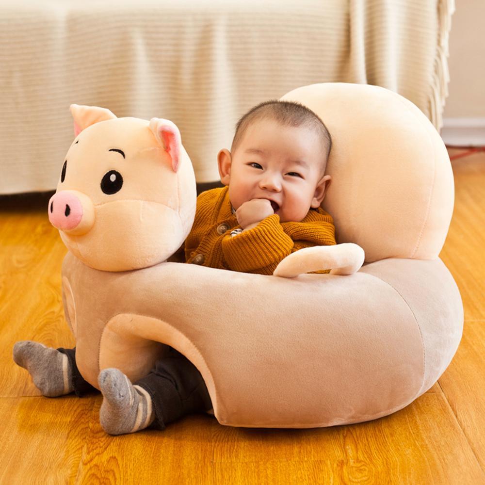 Capa de sofá do bebê sem algodão aprender a sentar assento de alimentação cadeira capa lavável bebê sofá da pele para infantil criança capa de sofá macio