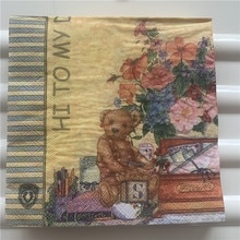 20 servilleta retro papel tisú oso lindo pájaro gato jaula decoupage de flores boda niños fiesta de cumpleaños decoración de Navidad servilletas
