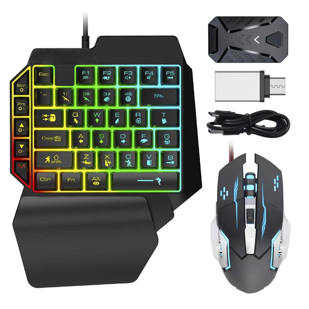 الألعاب لوحة مفاتيح وماوس كومبو RGB الخلفية بيد واحدة لوحة المفاتيح الفئران مع محول محول مجموعة ل PS4 PS5 Xbox نينتندو التبديل