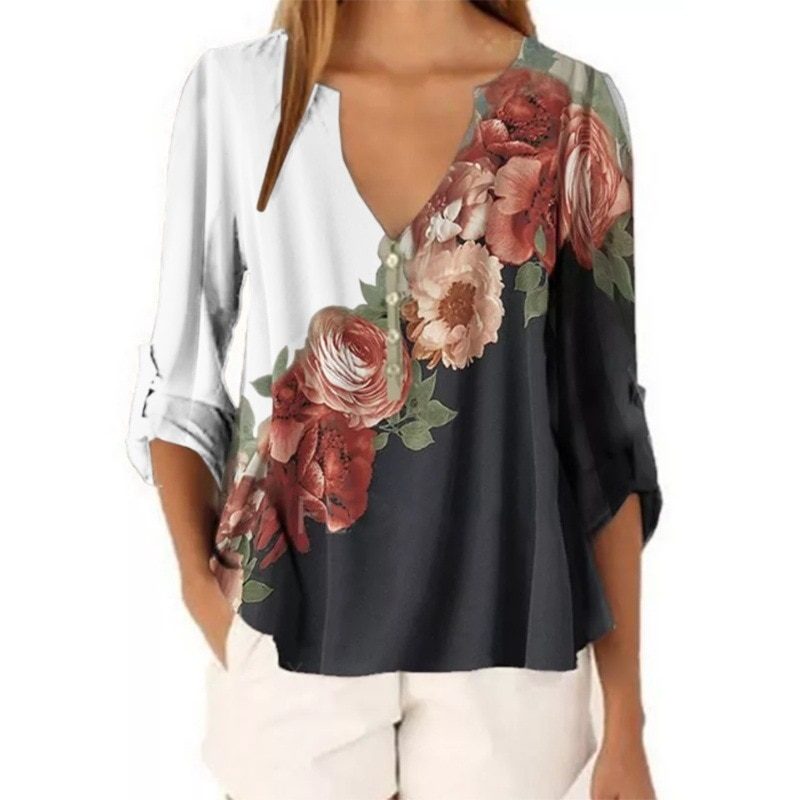 Summer Clothes for Women Blouse Long Sleeve Top Fashion V-neck	Shirts Print Plus Size Blouses Elegant Casual Shirt Female 2021