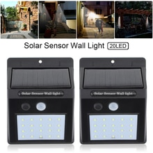 2pcs 20 LED Solar Light Motion Sensor Wall Lamp Outdoor Waterproof Courtyard Light with Energy Saving and Environmental