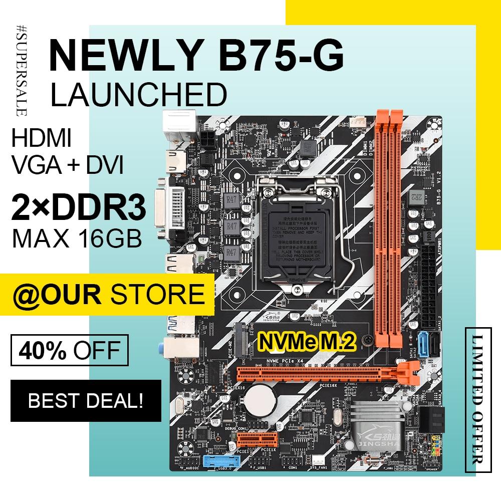 اللوحة الأم لسطح المكتب B75 ، مكون الكمبيوتر الشخصي LGA1155 مع NVMe M.2 SSD ، متوافق مع Intel LGA 1155 i3 i5 i7 CPU DDR3 DIMM HDMI VGA DVI