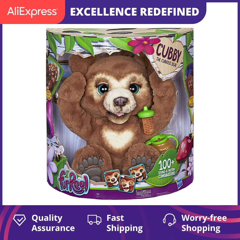 39cm Furreal Cubby Friends Interactive Plush Toys Children The Curious Bear Pet Cute Anime Stuffed Animals Girls Christmas Gifts
