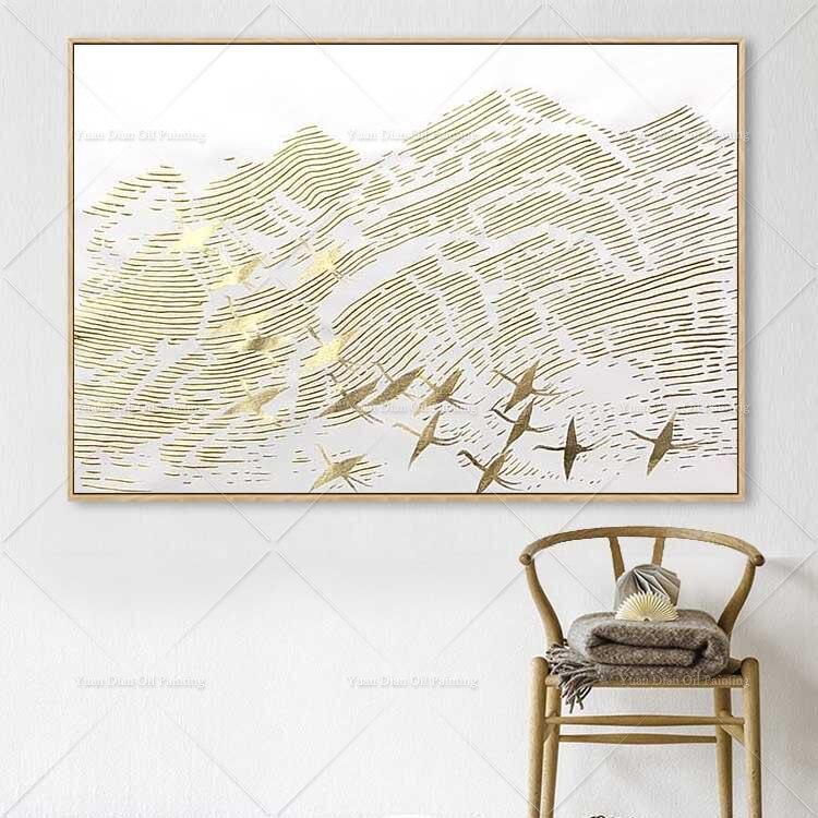 Ouro e Pássaro Pintados à Mão Pintura a Óleo sobre Tela Quadros de Parede Arte da Parede para Sala Pintura Abstrata Estar Decoração Casa