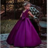beautiful a line flower girl dresses for weddings 2020 elegant purple satin flowers girls first holy communion dress customize