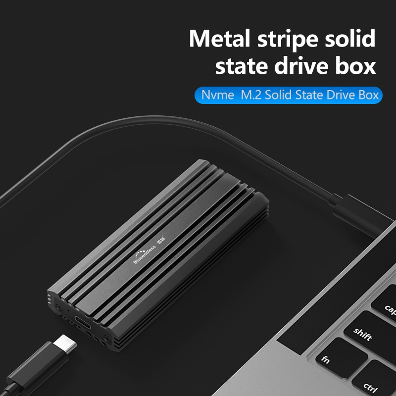 Blueendless M2 SSD Case USB 3.1 10Gbps High Speed Aluminum Shell NVME SSD Disk Multiple Cooling Type C to C External Hard Drive