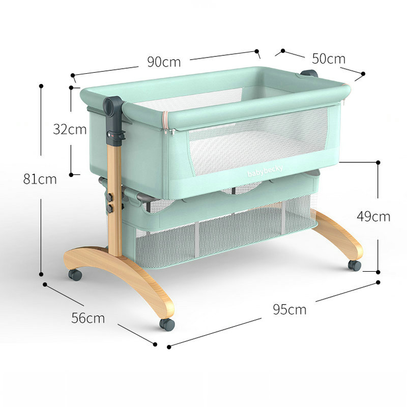 Portable Movable Baby Crib, Foldable Newborn Solid Wood Cradle, Multifunctional Stitching Big Bed Bedside Sleeper