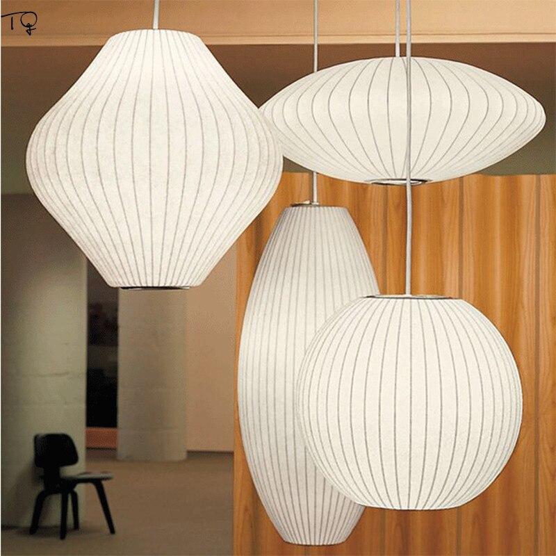 Luces colgantes nórdicas de seda japonesa arte blanco Zen Nueva luminaria china para sala de estar dormitorio estudio restaurante sala de té