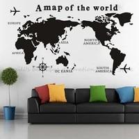 Carte du monde nautique vinyle autocollant Mural grande carte boussole maison salon chambre bureau Art deco carte affiche etanche murale 2DT15