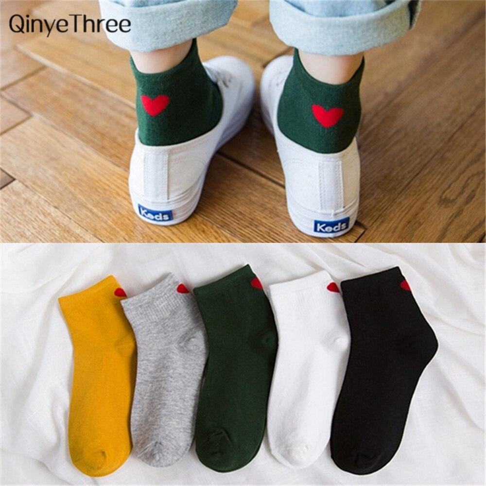 Новые модные женские носки-трубы средней высоты на каблуке в стиле Харадзюку, милые женские повседневные носки с принтом в виде красных сердечек, Meias