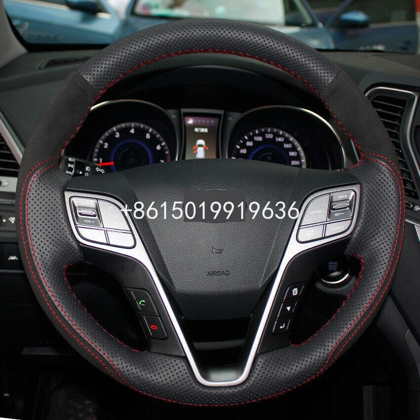Housse de volant de voiture en cuir suédé noir cousu main pour Hyundai Santa Fe IX45