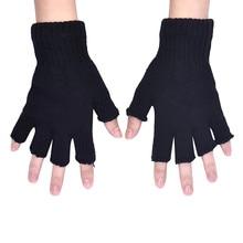 Gants tricotés noirs élastiques demi-doigt   Gants dhiver chauds et extensibles pour hommes, Guantes tactiques chaudes et douces à la main C30107