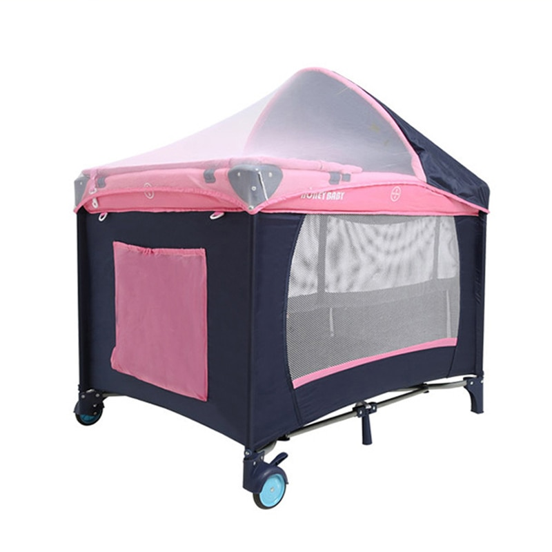Portable Multifunction 2 Level Baby Bed Cot Crib Mosquito Net Playpen Comfortable Movable Playpen Side Zip Door Play Game Bed