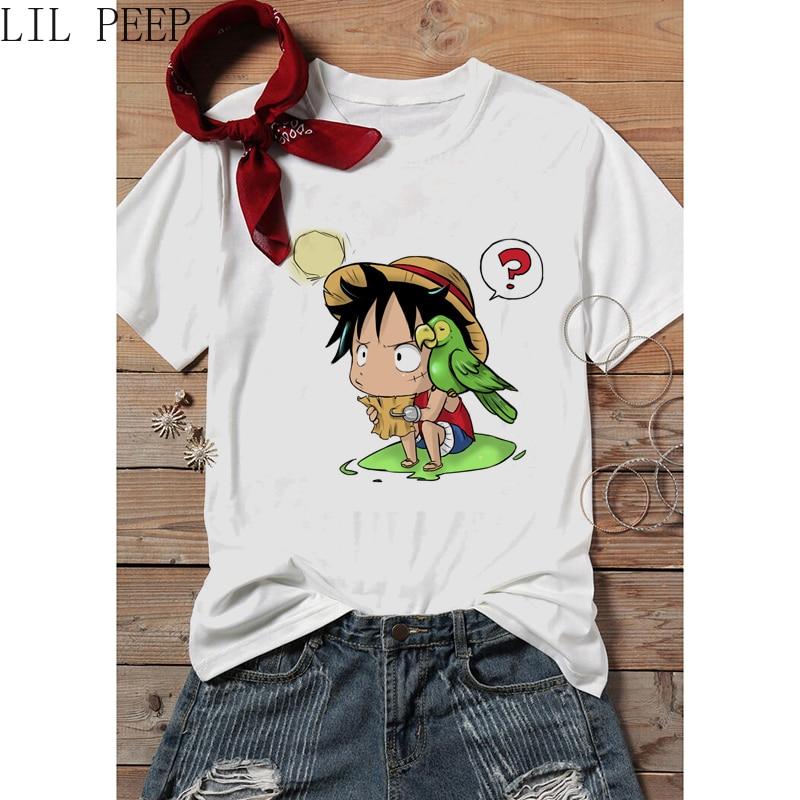 Novedad de verano, camiseta de Anime japonés de One Piece Luffy, camisetas para mujer, camiseta Kawaii, camisetas de estilo gótico de cuello redondo para mujeres, camisetas cómodas de Hip Hop