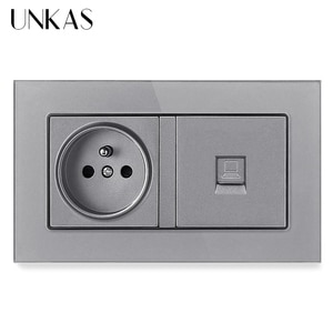 UNKAS Tempered Crystal Glass Panel 16A French Standard Power Socket + RJ45 Internet Computer Connector Jack 146MM*86MM Outlet
