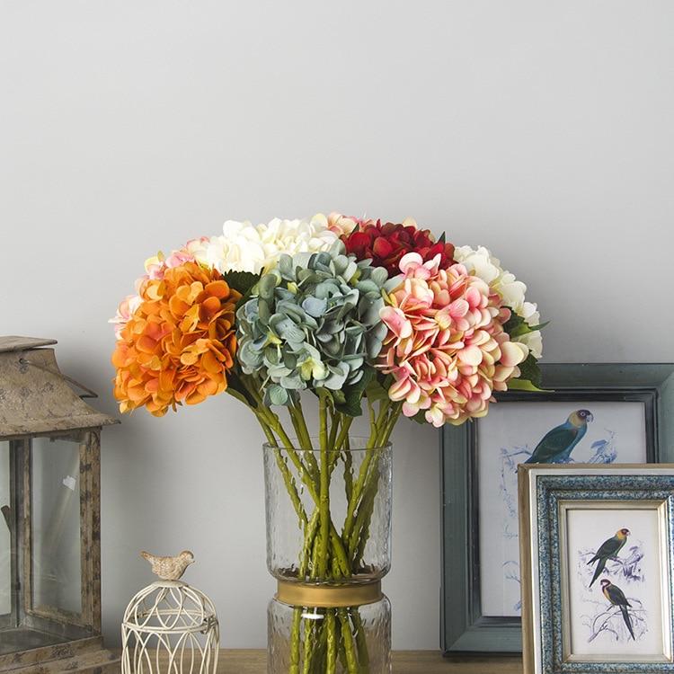 Flores de imitación Guangzhou, botella individual, Hortensia Retro, estilo europeo, accesorios para el cabello de alta calidad DIY, diadema, decoración de boda