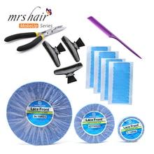Ruban de rechange pour cheveux brésiliens   Lot de 5, languettes de ruban bleu Super adhésifs, rouleaux de bande frontale dentelle Double face