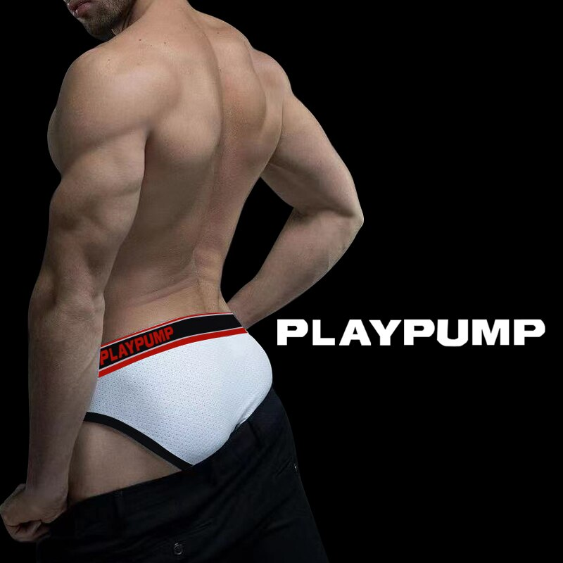 3Style New Brand Mesh Men Underwear Sexy Men's Briefs Mesh Breathable Man Underpants Gay U Convex Pa