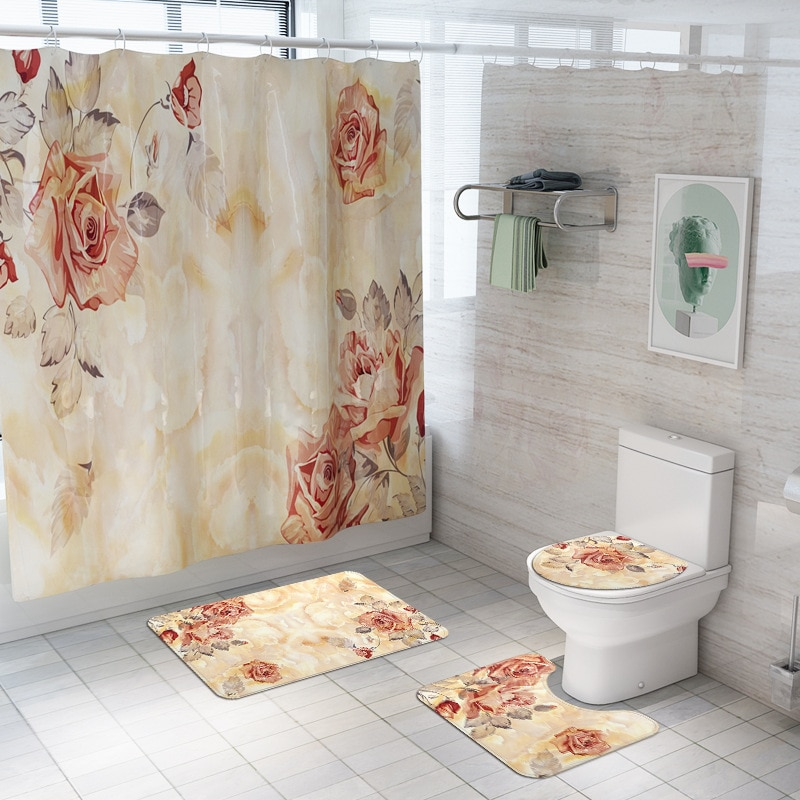 New Arrival Flower Printed Floor Mat 4-piece Bathroom Shower Curtain Anti Slip Carpet Set enlarge