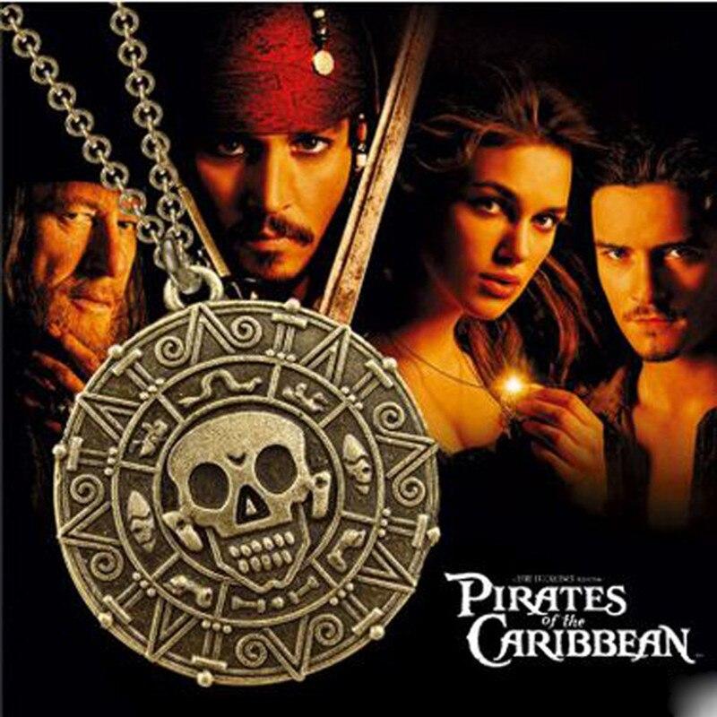 Collar de la película Piratas del Caribe, moneda azteca dorada, collar con medallón de capitán Jack Sparrow con colgante de calavera para hombres, regalo para seguidores
