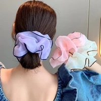 tulle organza hair ties splicing colors hair ring soft oversized mesh scrunchies elastic hair rubber band new hair accessories