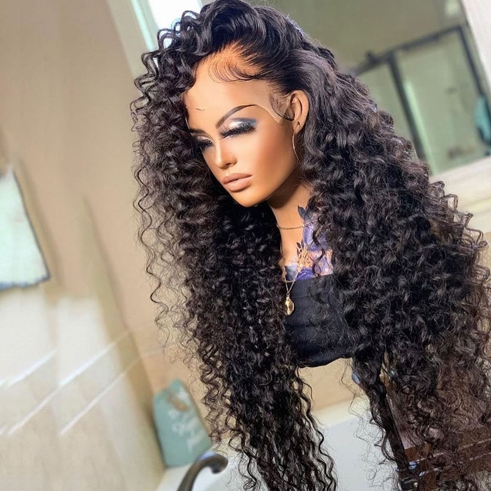 Deep Wave Frontal Wig Human Hair Lace Frontal Wigs For Women Brazilian PrePlucked Water Wave Lace Fr