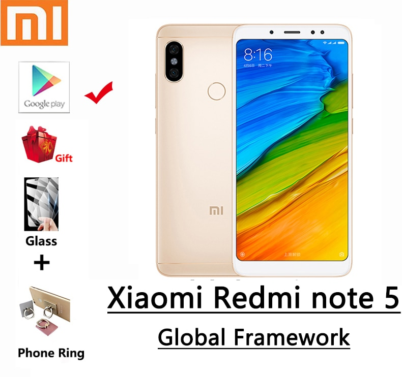 xiaomi Redmi note 5 smartphone with global framework and googleplay snapdragon 636 2160*1080 5.99 HD screen 13.0MP camera