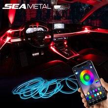 Auto Atmosphäre Lichter EL Neon Draht Streifen Licht RGB Mehrere Modi App Sound Control Auto Innen Dekorative Umgebungs Neon Lampe
