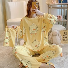 New Winter Women Flannel Pajamas Set Cartoon Little Yellow Duck Round Neck Sleepwear Thickened Warm Pyjamas Home Clothing