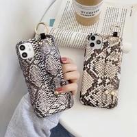 luxury leopard snake skin wristband bracket soft phone case for iphone 12 mini 7 8 plus x xr xs 11 pro max se 2020 cover