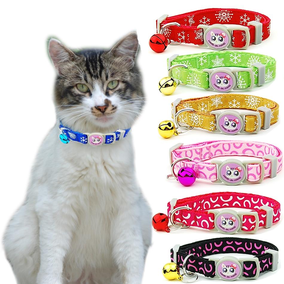 3 unids/lote, Collar de gato de escapada de seguridad ajustable, suministros para mascotas, Collar de gato de gatito de copo de nieve cachorro gatos Collar accesorios para mascotas
