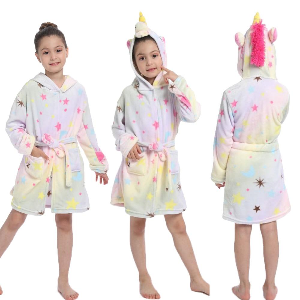 Kigurumi Children Bathrobes Kids Star Rainbow Unicorn Hooded Bath Robe Animal for Girls Pajamas Nightgown Kids Sleepwear