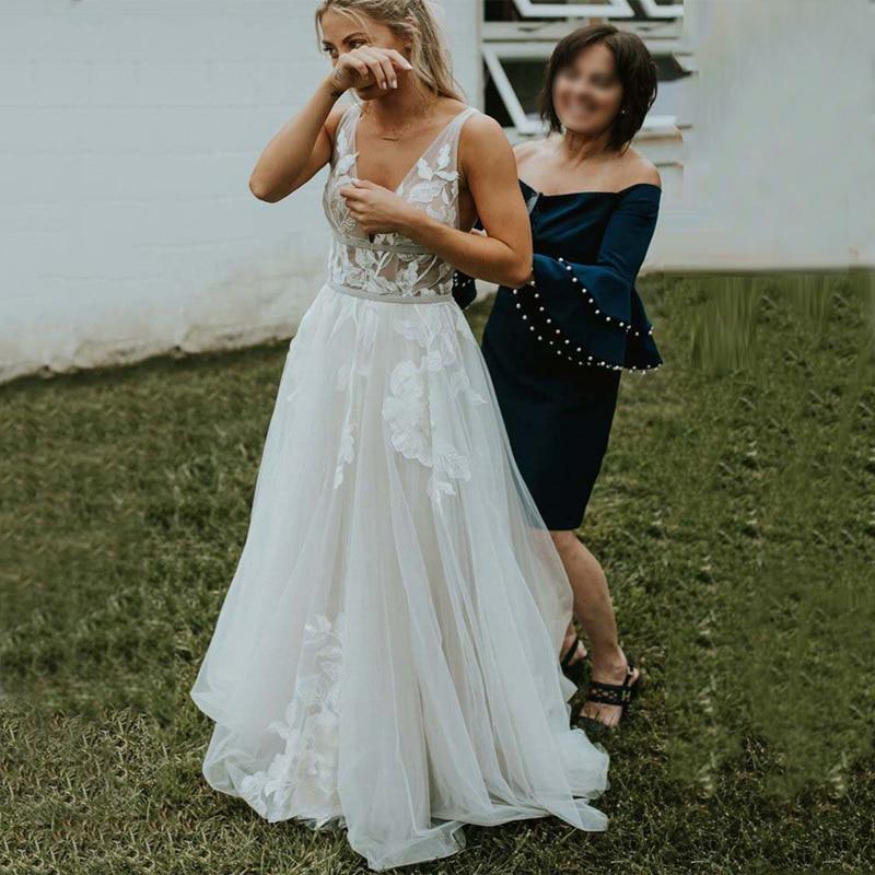 الخامس الرقبة يزين الدانتيل وشاح عارية الذراعين تول ألف خط فستان الزفاف 2021 Vestido De Noiva فستان زفاف
