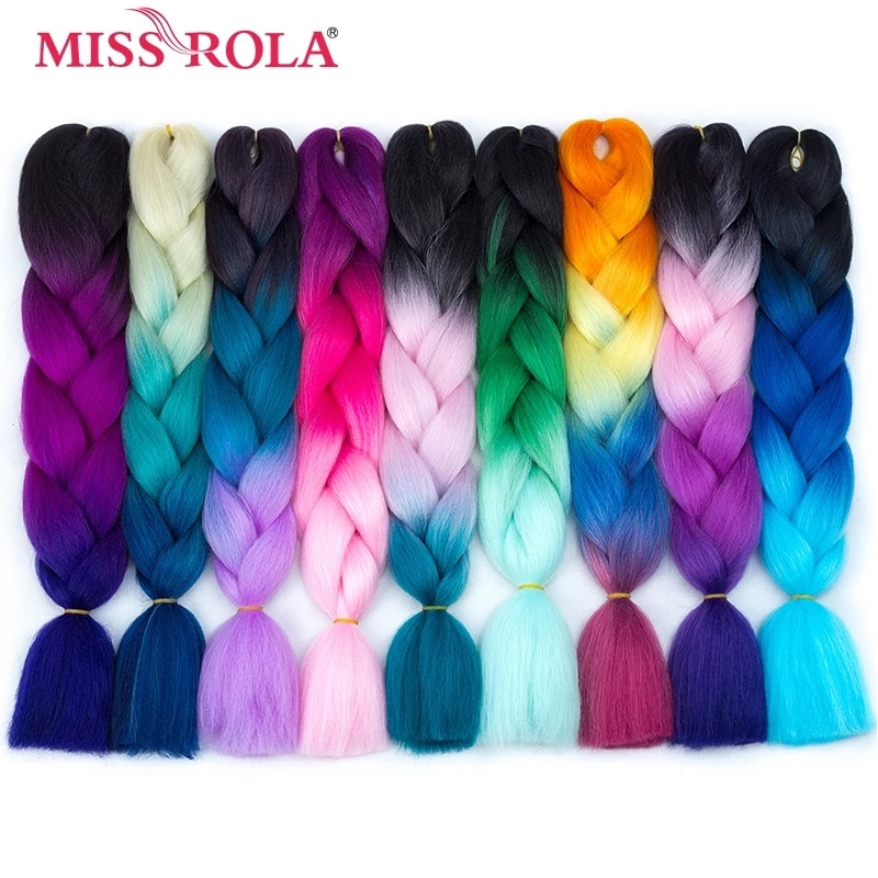 MISS ROLA 24Inch Glowing Twist Braids Braiding Hair Extensions Jumbo Braids Ombre Synthetic Hair Support Wholesale