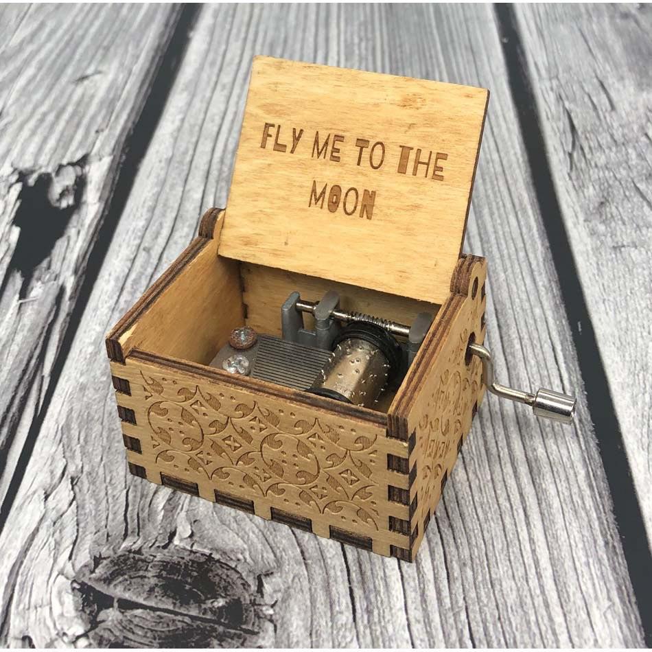 FLY ME TO THE MOON caja de música de madera Juego de tronos Star Wars Imagine John Queen caja de música regalo de Navidad