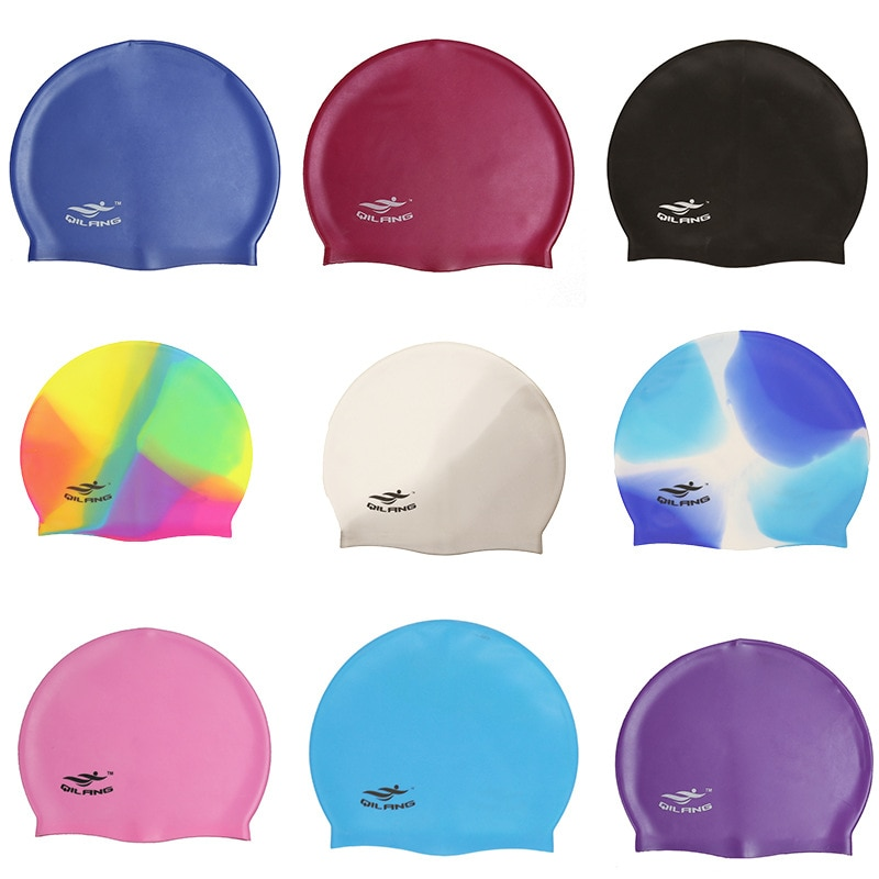 2020 Swimming Cap Silicone Women Men Waterproof Plus Size Colorful Adult Long Hair Sports High Elast