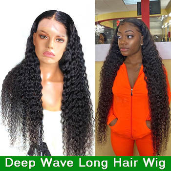 long hair wig 28 30 inch deep wave lace front wig Brazilian lace front Human Hair Wigs for women lace closure wig frontal wigs