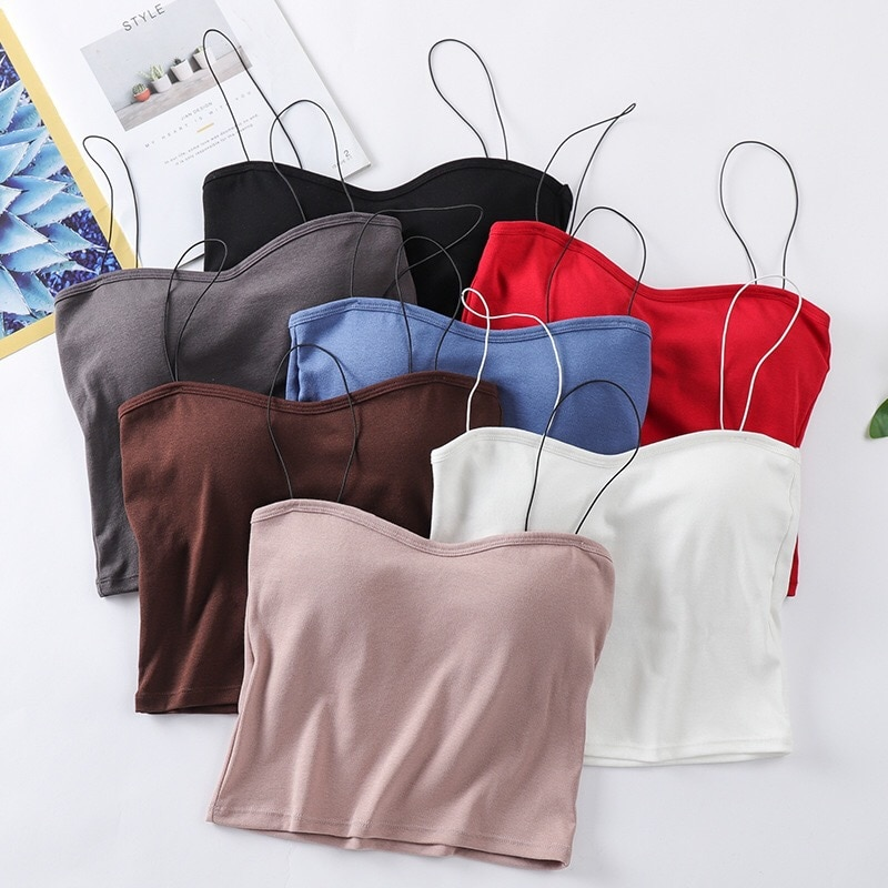Sexy tank top mulheres camis cinta fina acolchoado feminino cropped topos sem mangas colheita sem costura roupa interior de algodão camisola