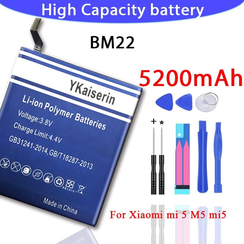 100% ykaiserin novo 5200mah bm22 bateria de alta qualidade para xiaomi mi5 bateria 5 m5 mi 5 + ferramentas gratuitas