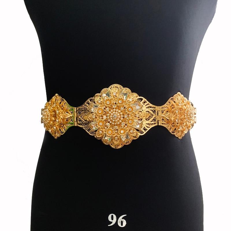 حجم كبير كريستال زهرة أحزمة الزفاف مطلي الذهب التركية القفطان حزام سلسلة طويلة لفستان الزفاف العربية اكسسوارات الزفاف