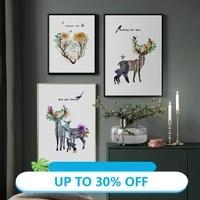 Affiches de peinture sur toile  image dart murale abstraite de paysage de fleurs de foret de cerf pour decoration de salon  decoration de maison