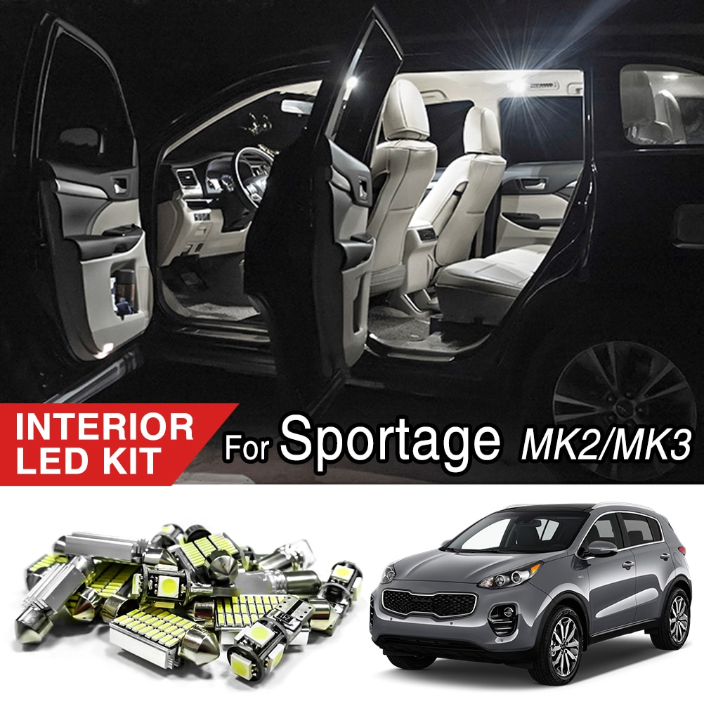 Accesorios de coche Kit de paquete de bulbos de luz LED Interior blanca para Kia Sportage 3/4 2005 - 2019 SL QL R T10 lámpara de techo