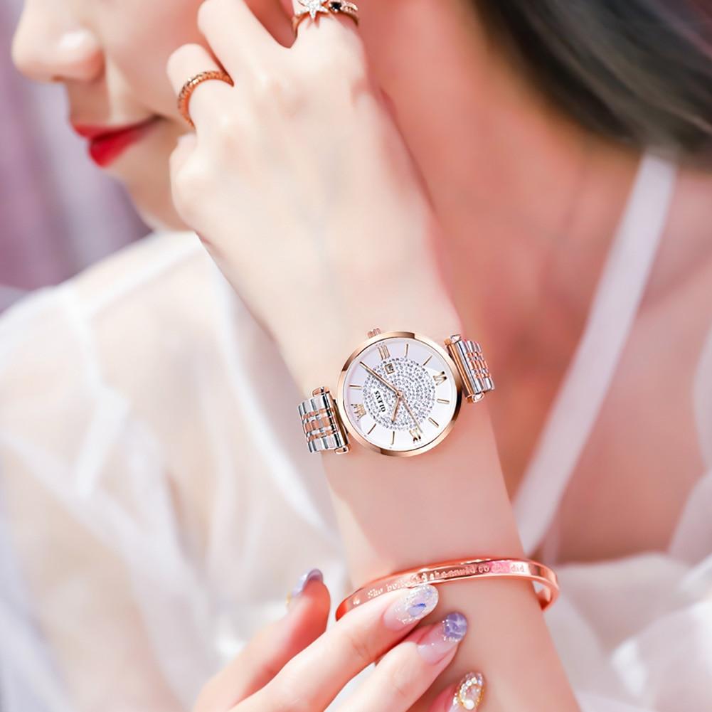 Japan Quartz Movement High Quality 32mm hannah Martin Women Stainless Steel Mesh Rose Gold Waterproof Ladies Watch Dropshipping