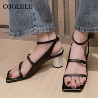 coolulu real leather women shoes ankle strap high heel sandals narrow band thick heel snadals buckle square toe female footwear