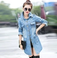 blue womens long sleeve with pocket lapel jacket denim jacket single breasted 2020 autumn fashion casual jeans coat women top