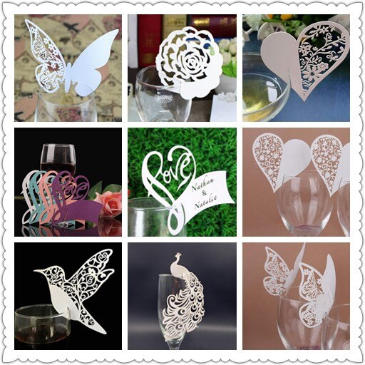 50 Uds mariposa/corazón/amor/pájaro/mariposa/pavo real/peacock/corte láser de vidrio de vino de tarjetas de nombre y lugar para las mesas deco boda cumpleaños Navidad