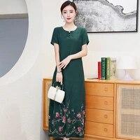vintage floral print maxi dress women boho short sleeve long sashes dress plus size casual shirt dresses robe