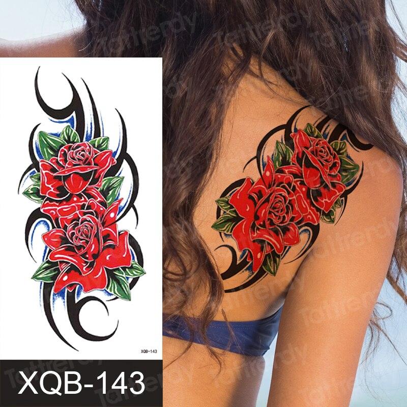 Tatuaje temporal de flor de rosa roja para mujeres chicas únicas flores púrpuras atrapasueños tatuajes manga de muñeca calcomanía de Cuerpo impermeable