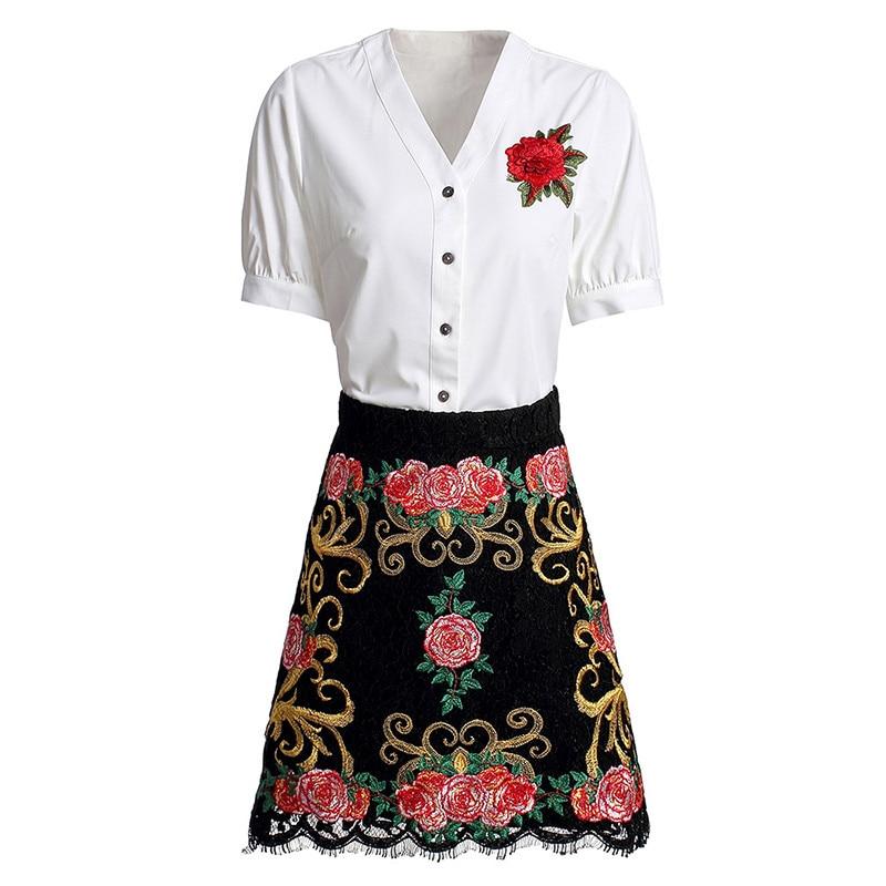 Red RoosaRosee Designer Spring Summer 2020 Women Suit Short Sleeve White Shirt + Floral Embroidery Black Min Skirt Two Piece Set